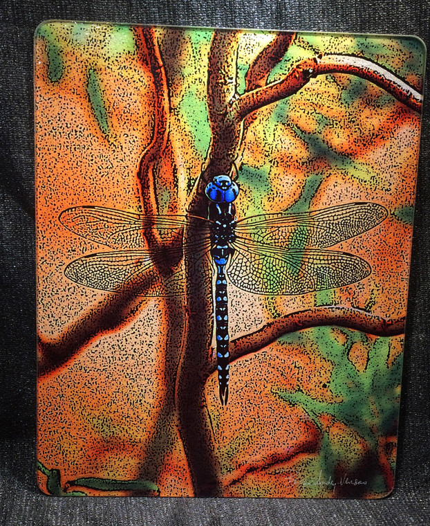 Blue Dragonfly Glass Cutting Board Large -  12 in x 15 in
