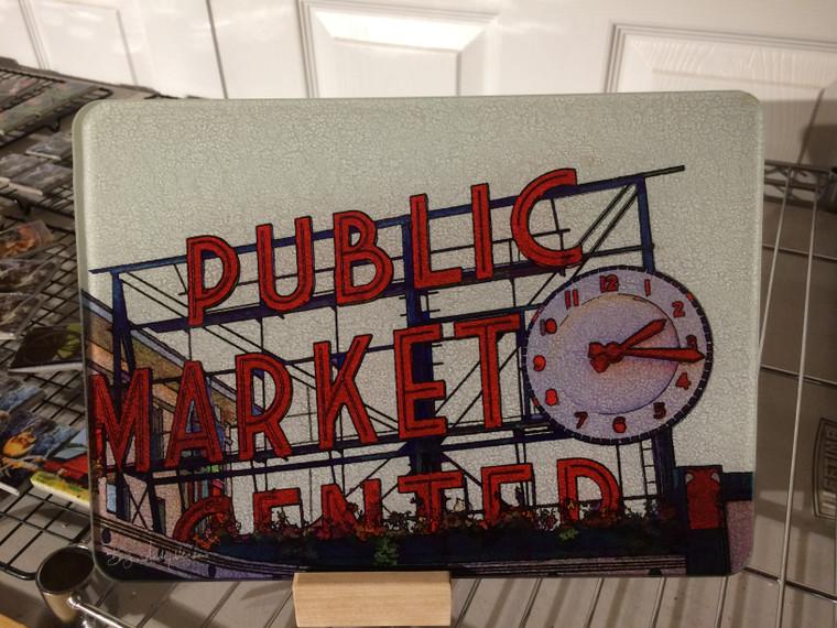 Pike Place Market - Glass Cutting Board - 7.75in  x 10.75in