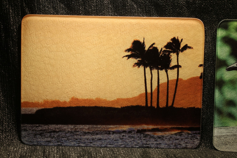 Hawaiian Sunset Glass Cutting Board 7.75in x 10.75in