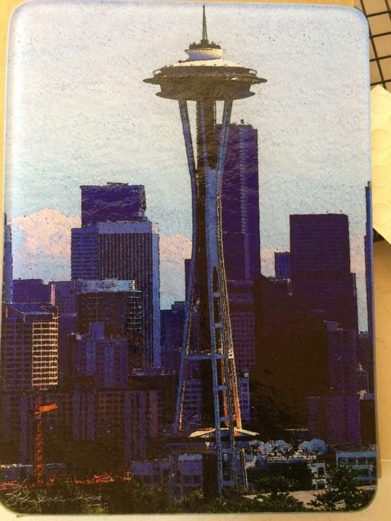 Seattle Space Needle - Glass Cutting Board 7.75in x 10.75in