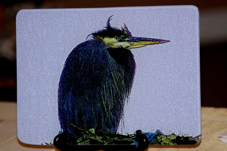 Heron on Nest Glass Cutting Board -  7.75in  x 10.75in