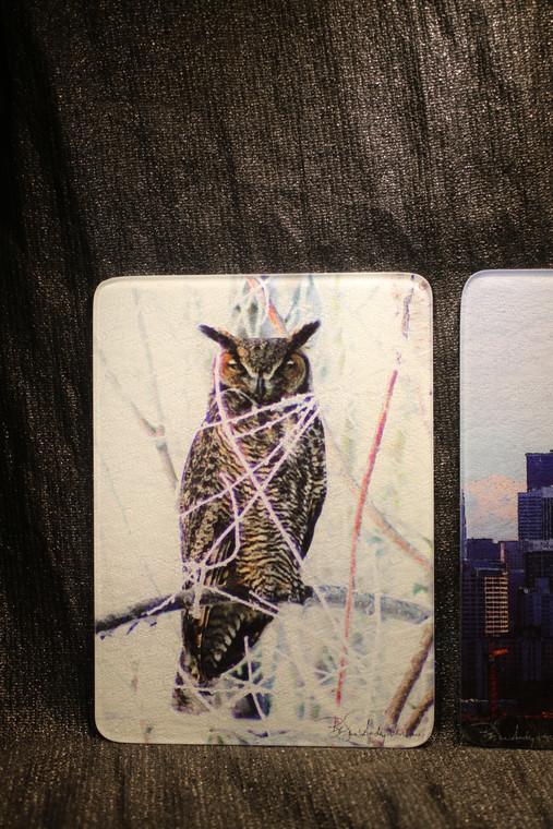 Great Horned Owl Glass Cutting Board -  7.75in  x 10.75in