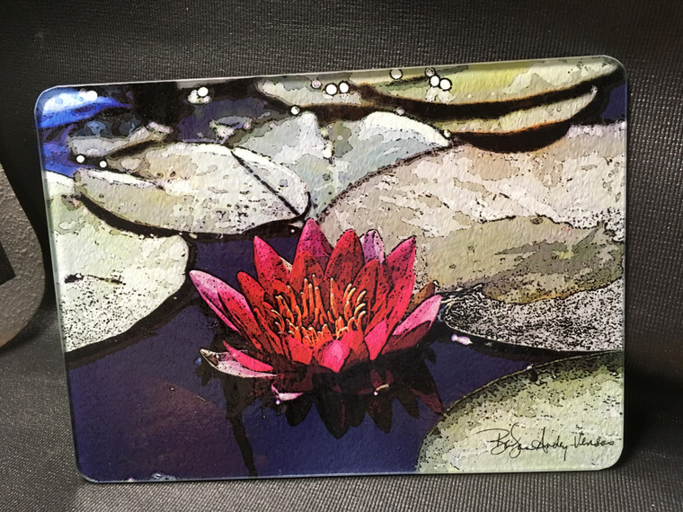 Red Lily Glass Cutting Board -  7.75in  x 10.75in