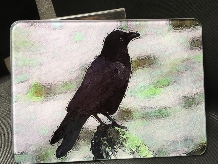 Crow Glass Cutting Board - 7.75in  x 10.75in