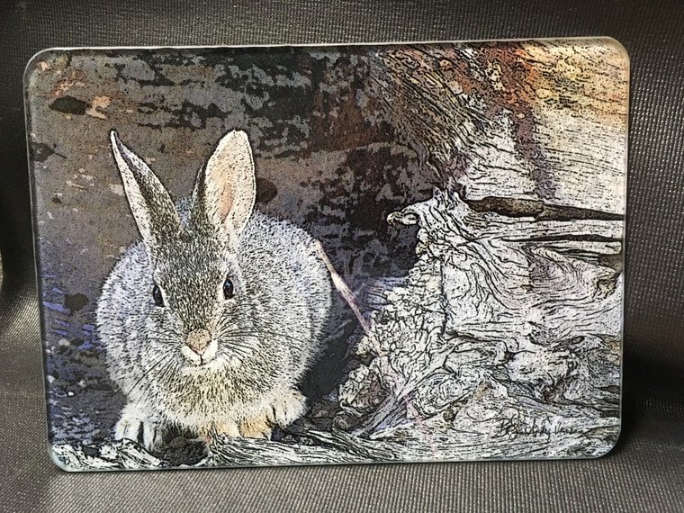 Mountain Cottontail Glass Cutting Board - 7.75in  x 10.75in