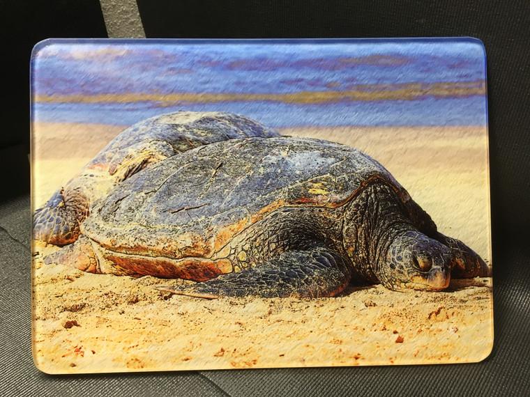 Sea Turtle Glass Cutting Board 7.75in x 10.75in