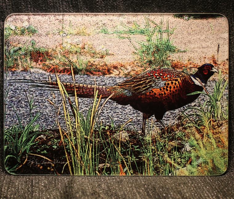 Pheasant Glass Cutting Board -  7.75in  x 10.75in