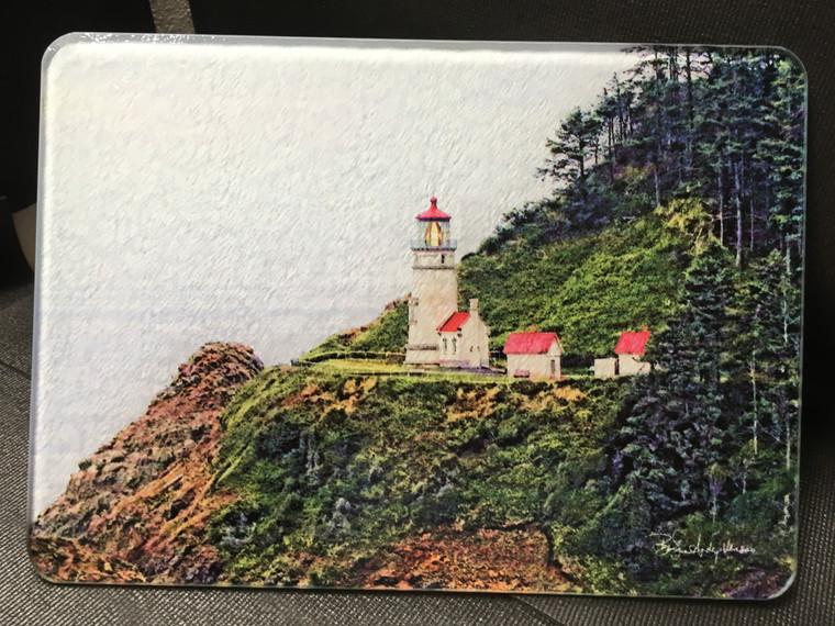 Heceta Head Light - Horizontal -  Glass Cutting Board 7.75in  x 10.75in