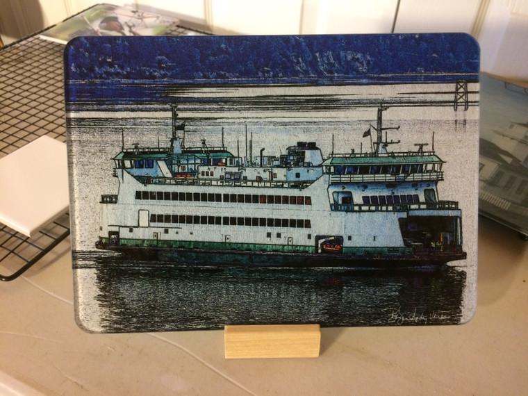 Ferry Salish Glass Cutting Board 7.75in  x 10.75in