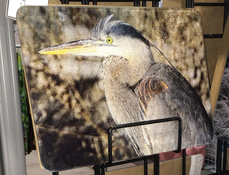 Blue Heron Glass Cutting Board -   7.75in  x 10.75in