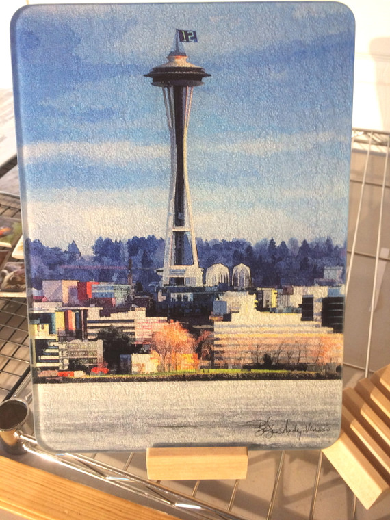 Space Needle with 12 Flag - Glass Cutting Board - Small - 7.75 x 10.75