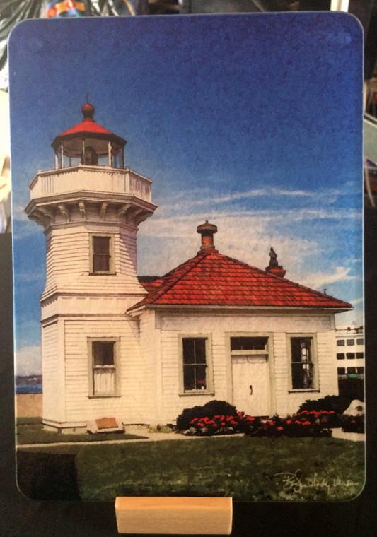 Mukilteo Lighthouse Glass Cutting Board -  7.75in  x 10.75in