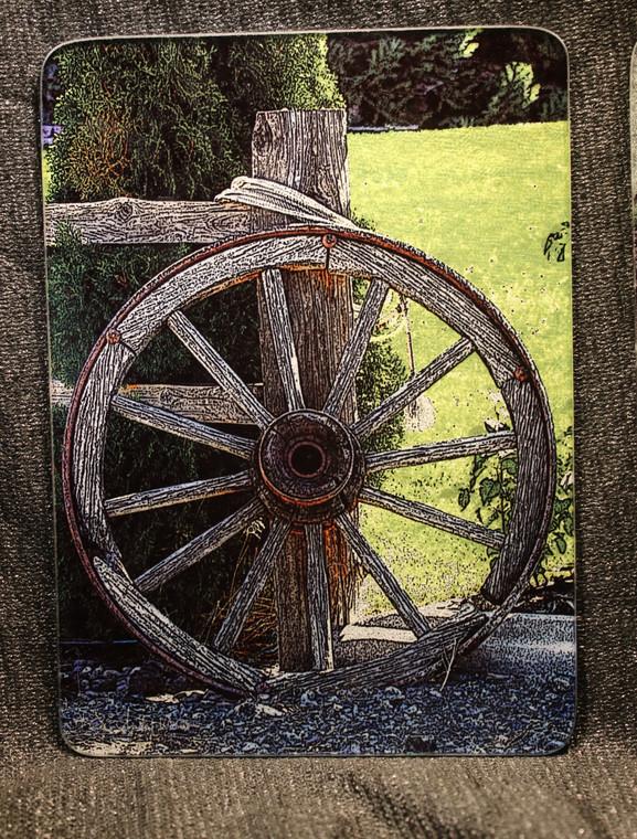 Wagon Wheel Glass Cutting Board -  7.75in x 10.75in