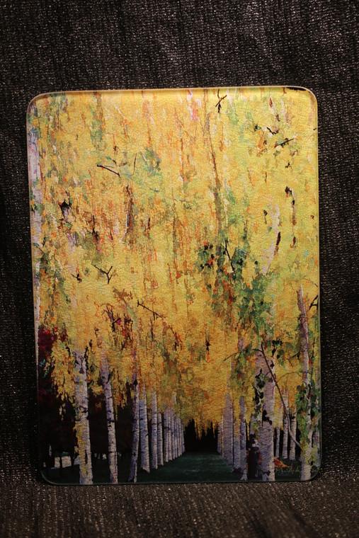 Fall Birch Glass Cutting Board -  7.75in x 10.75in