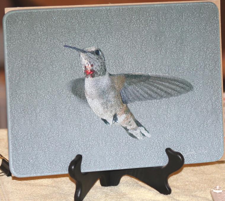 Rufous Hummingbird Glass Cutting Board -  7.75in  x 10.75in