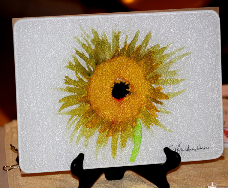 Sunflower Glass Cutting Board -  7.75 in  x 10.75 in