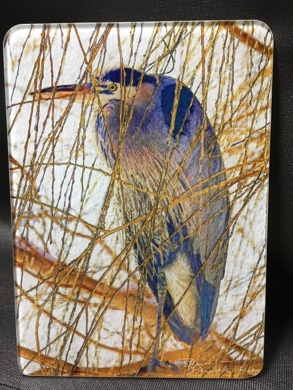 Heron in Willow - Glass Cutting Board  7.75in  x 10.75in