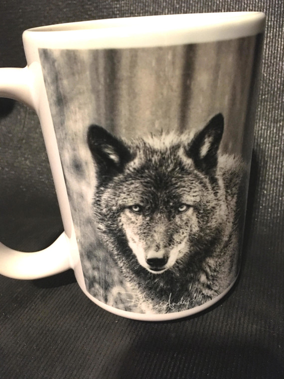 Wolf Black & White Large Coffee Mug 15 Oz