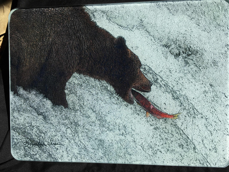 Bear Catching Salmon Glass Cutting Board -  7.75in x 10.75in