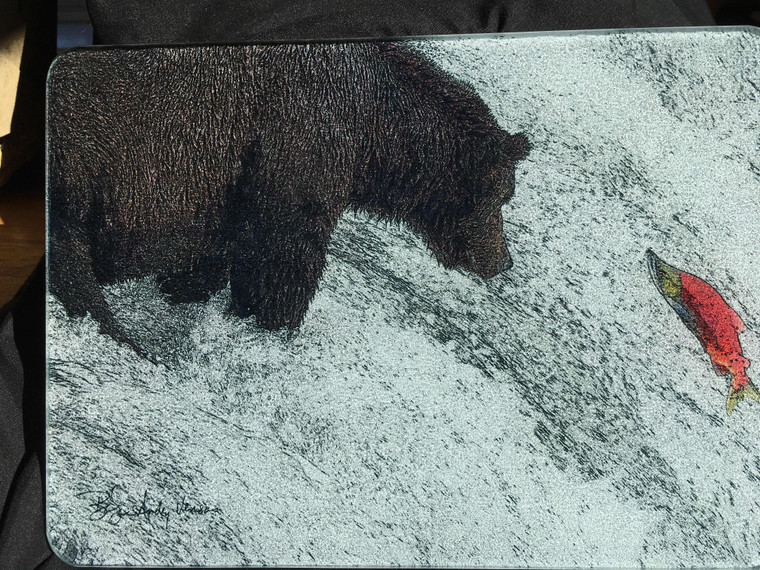 Bear Fishing for Salmon Glass Cutting Board -  7.75in x 10.75in