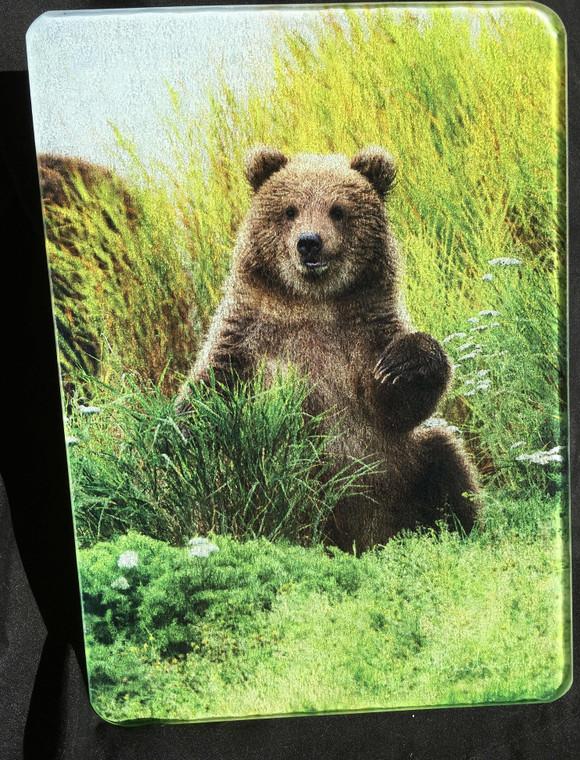 Little Bear -Vertical - Glass Cutting Board -  7.75in x 10.75in