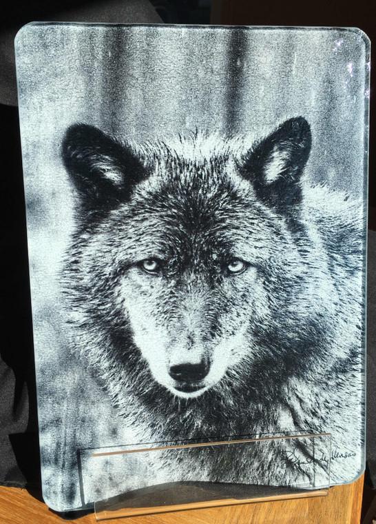Wolf - Black & White - Glass Cutting Board -  7.75in x 10.75in