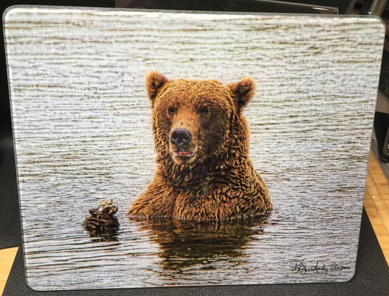 Bear Momma - Large Glass Cutting Board - 12 in x 15 in