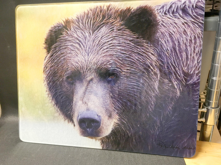 Bear Face - Large Glass Cutting Board - 12 in x 15 in