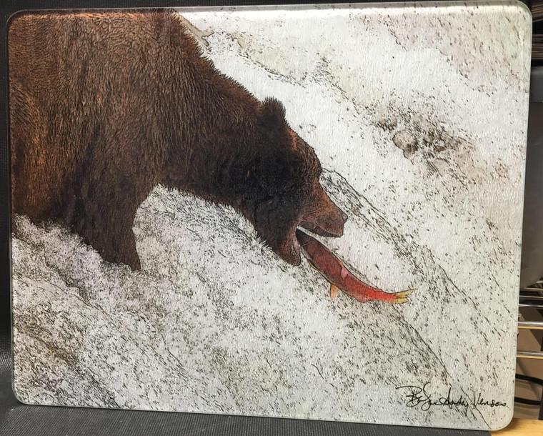 Bear Catching Salmon Glass Cutting Board - 12 in x 15 in