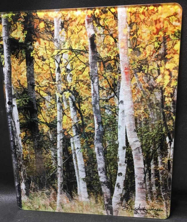 Fall Aspen - Large Glass Cutting Board -  12 in x 15 in