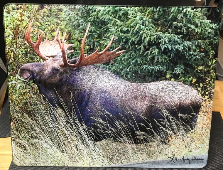 Bull Moose - Large Glass Cutting Board -  12 in x 15 in