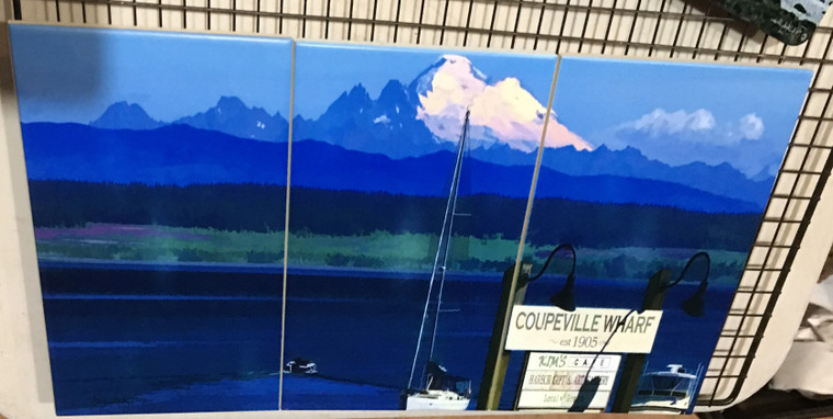Coupeville sign with Mount Baker Tile Mural SATIN FINISH - 3 - 6 x 8 in Tiles (8 in x 18 in)