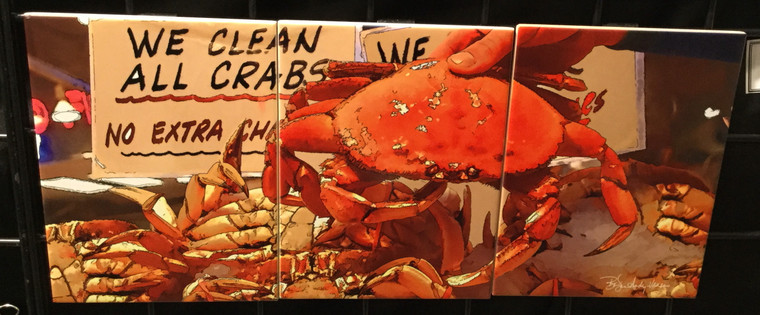 Crab Tile Mural SATIN FINISH - 3 - 6 x 8 in Tiles (8 in x 18 in)