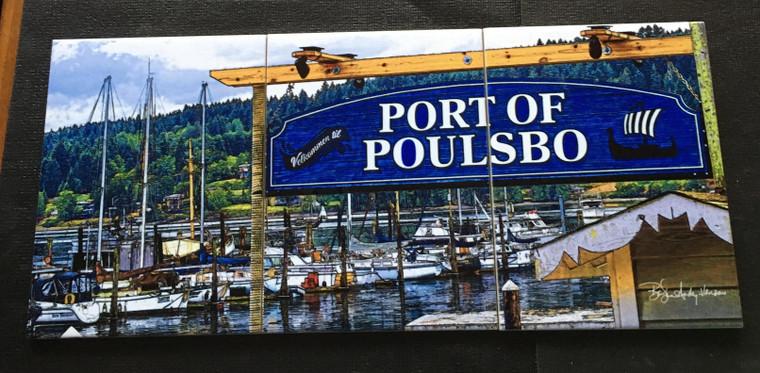 Port of Poulsbo Tile Mural Glossy - 3 - 6 x 8 in Tiles (8 in x 18 in)