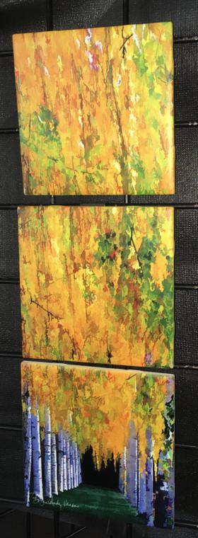 Fall Birch Tile Mosaic - 3 - 6in Tiles (18 in x 6 in)