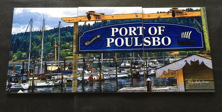 Port of Poulsbo Tile Mural Satin - 3 - 6 x 8 in Tiles (8 in x 18 in)