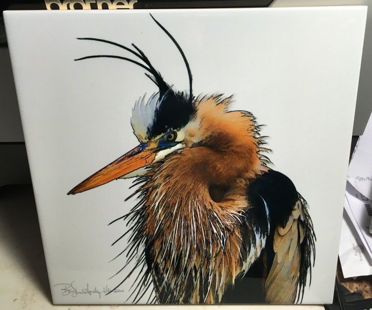 Decorative Tile - Fort Myers Heron 8 in x 8 in