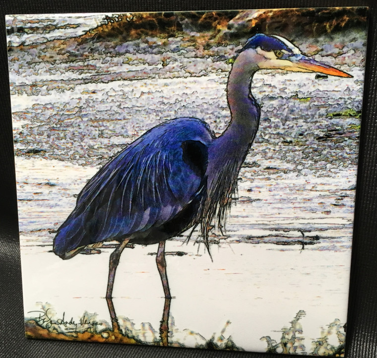 Decorative Tile -  Heron Feeding  8 in x 8 in