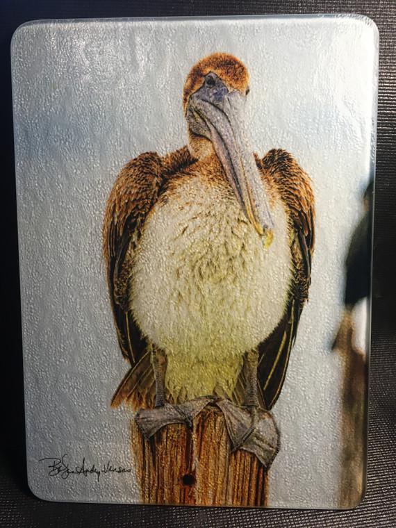 Brown Pelican Glass Cutting Board 7.75in  x 10.75in