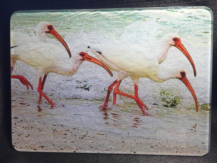 White Face Ibis Glass Cutting Board 7.75in  x 10.75in