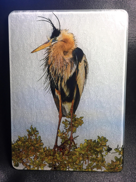 Fort Myers Heron Glass Cutting Board 7.75in  x 10.75in