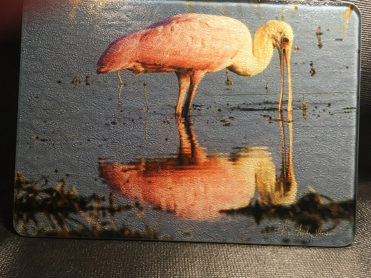 Roseate Spoonbill Glass Cutting Board 7.75in  x 10.75in