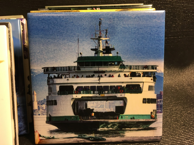 Ceramic Tile or Coaster - Ferry Tacoma 4.25 in x 4.25 in
