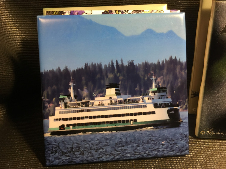 Ceramic Tile or Coaster - Ferry Puyallup 4.25 in x 4.25 in
