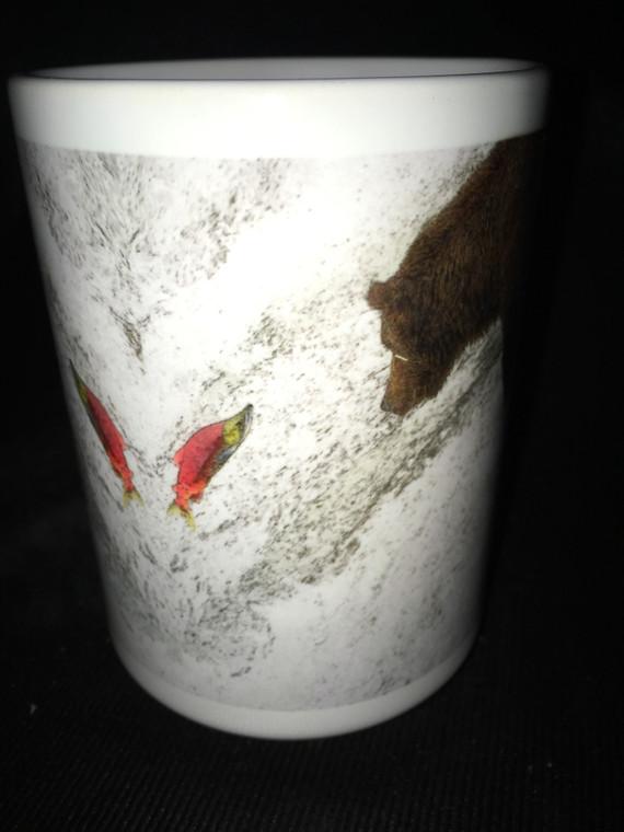 Brooks Bear Fish Large Coffee Mug 15 Oz