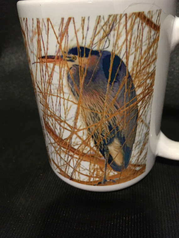 Heron in Willow Large Coffee Mug 15 Oz