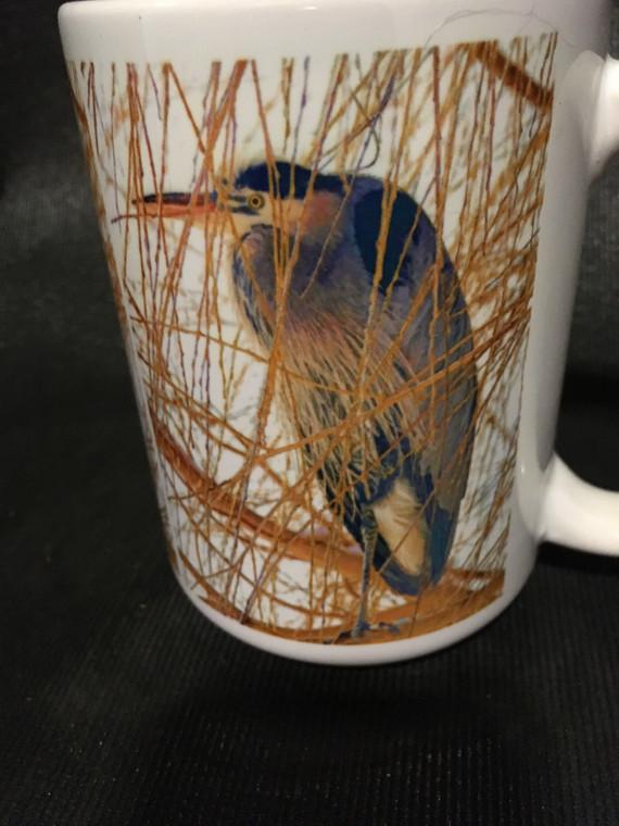 Heron in Willow Large Coffee Mug 15 Oz