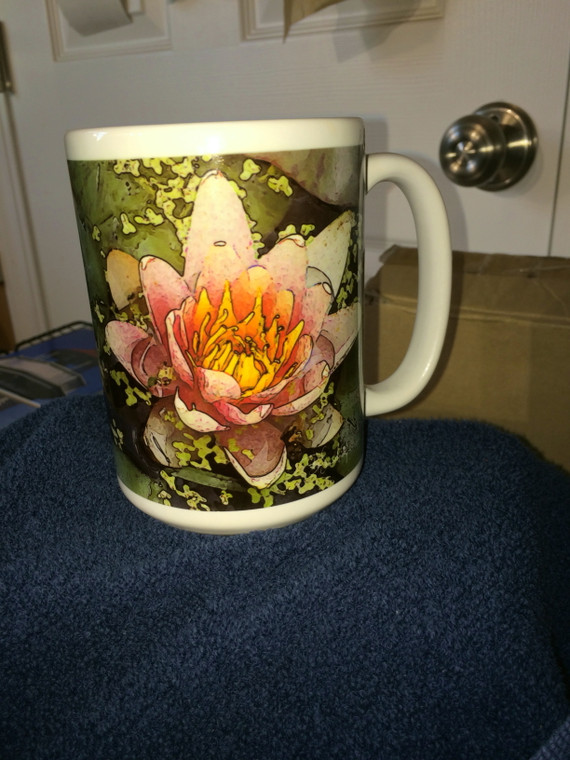 Pink Lily Art Large Coffee Mug 15 oz