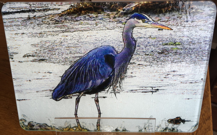 Heron Feeding  - Large Glass Cutting Board - 12 in x 15 in
