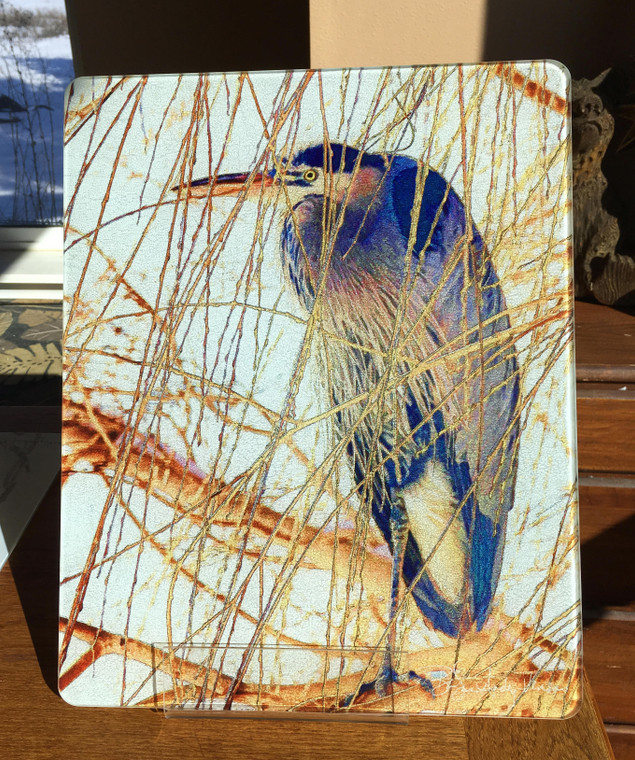 Heron in Willow  - Large Glass Cutting Board - 12 in x 15 in